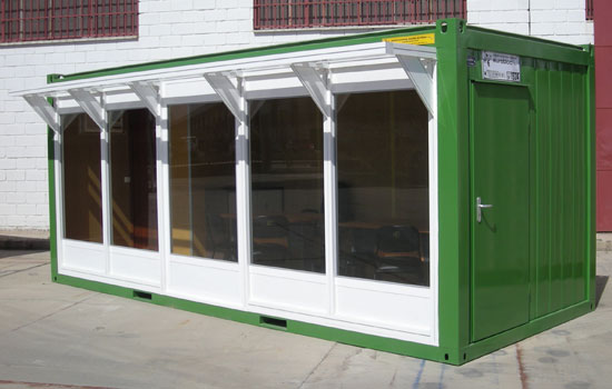 Construcciones m viles eurobloc casetas acristaladas a for Casetas de aluminio segunda mano